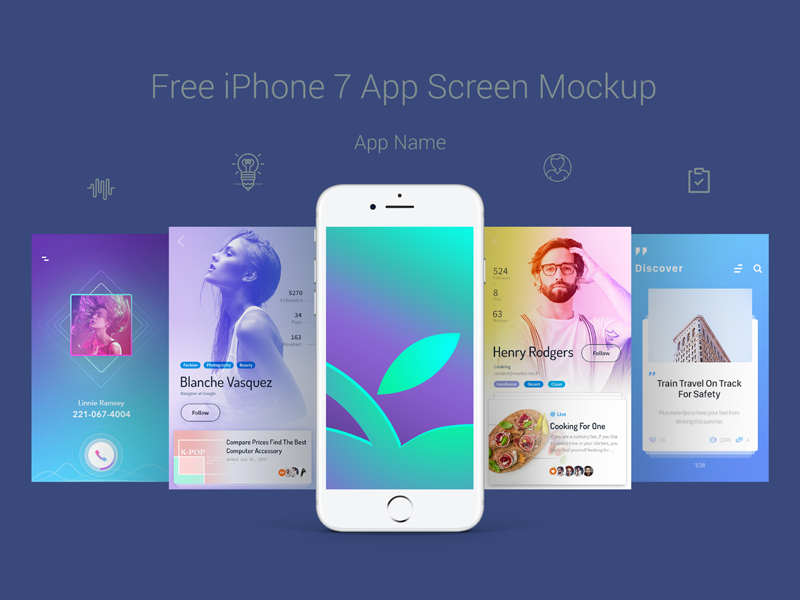 Free Premium iPhone 7 App Screen Mockup PSD by Zee Que