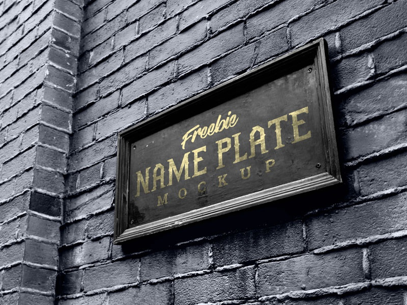 Free Name Plate / Logo Mockup PSD