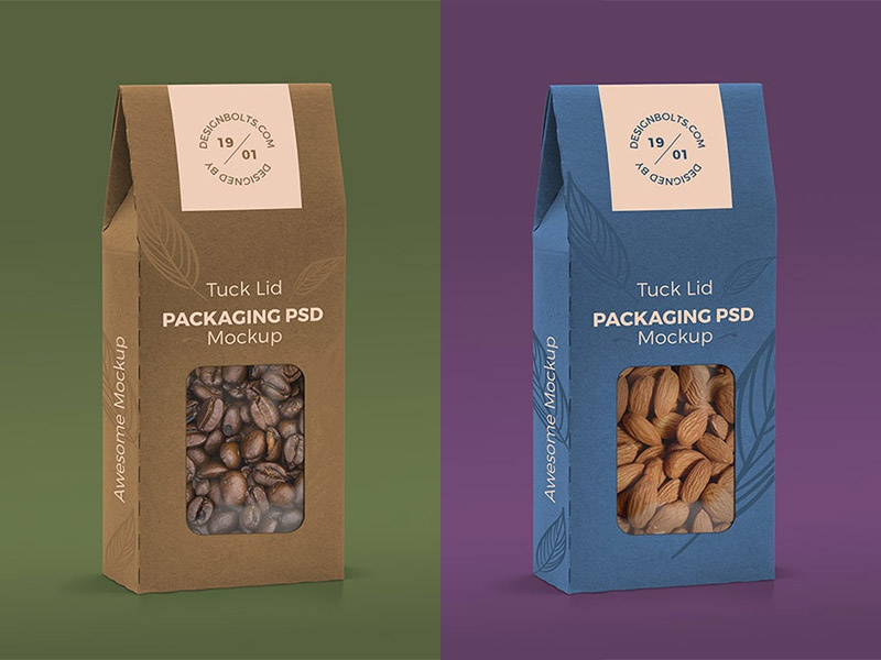 Tuck Lid Window Box Packaging Mockup PSD
