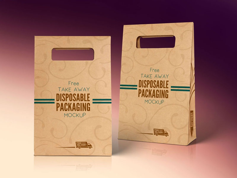 free kraft paper disposable food bag packaging mockup psd by zee que