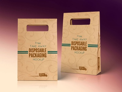 Free Kraft Paper Disposable Food Bag Packaging Mockup PSD packaging bag mockup free mockup psd mockup mockup psd food packaging mockup food mockup