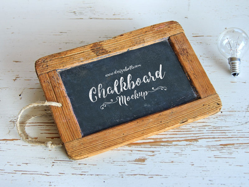 Free Wooden Frame Chalkboard Mockup PSD For Lettering