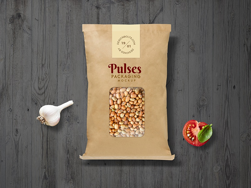 Free Pulses Kraft Paper Pouch Packaging Mockup PSD