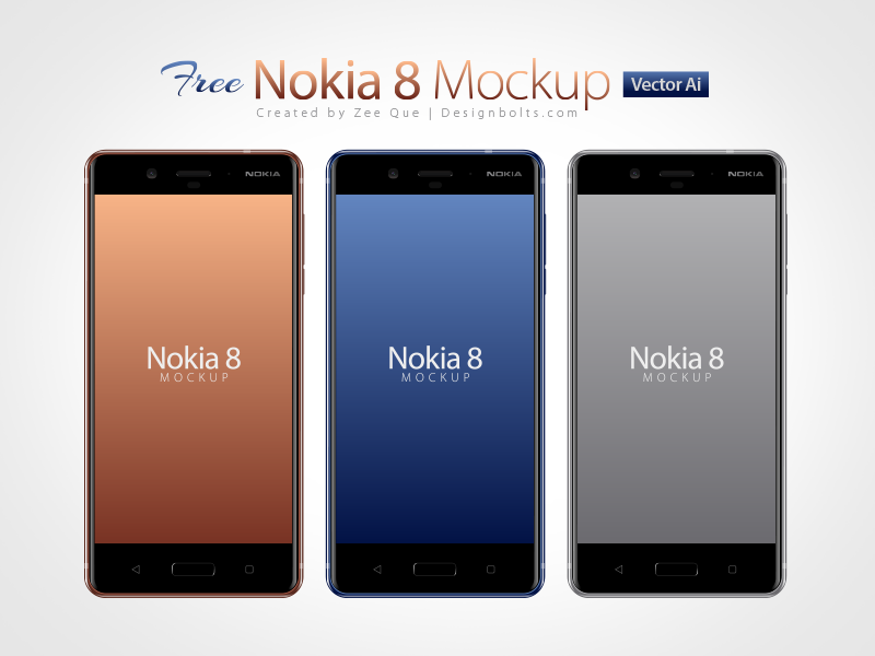 Free Nokia 8 Android Smartphone Mockup Psd In Ai Format mockup ai free mockup smartphone mockup nokia smartphone mockup nokia 8