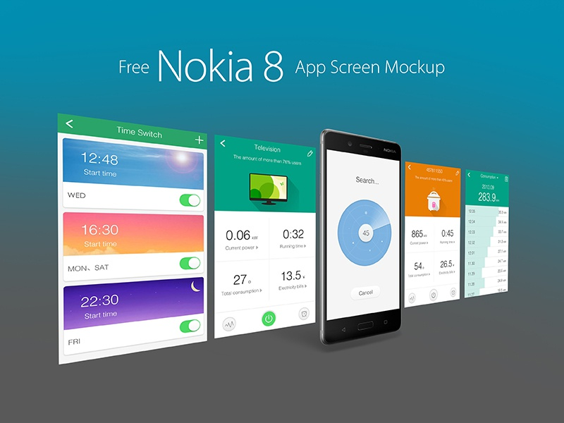 free nokia 8 andriod smartphone app screen mockup psd by zee que