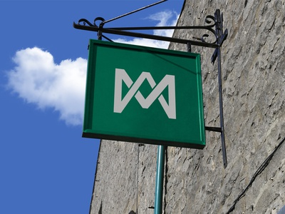 Free Wall Mounted Shop Sign Board Mockup PSD