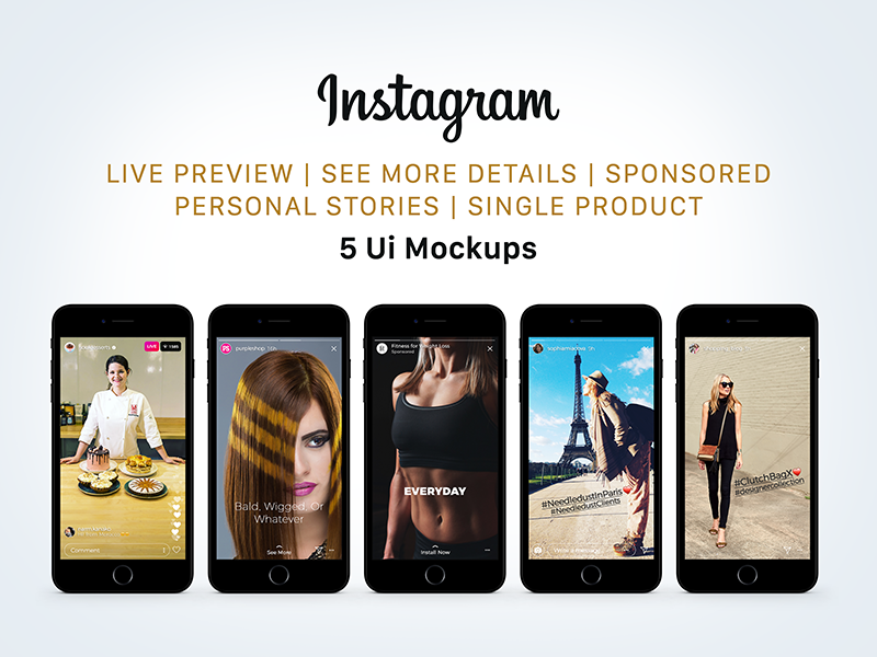 Free Instagram Sponsored, Live & Status Stories UI Mockup PSD mockup psd psd mockup mockup psd ui mockup instagram ui mockup instagram mockup instagram