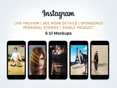 Free Instagram Sponsored, Live & Status Stories UI Mockup PSD mockup psd psd mockup mockup psd ui mockup instagram ui mockup instagram mockup instagram