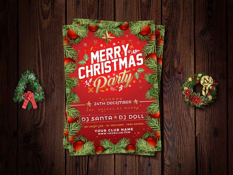 free vector christmas party flyer design template in ai format by