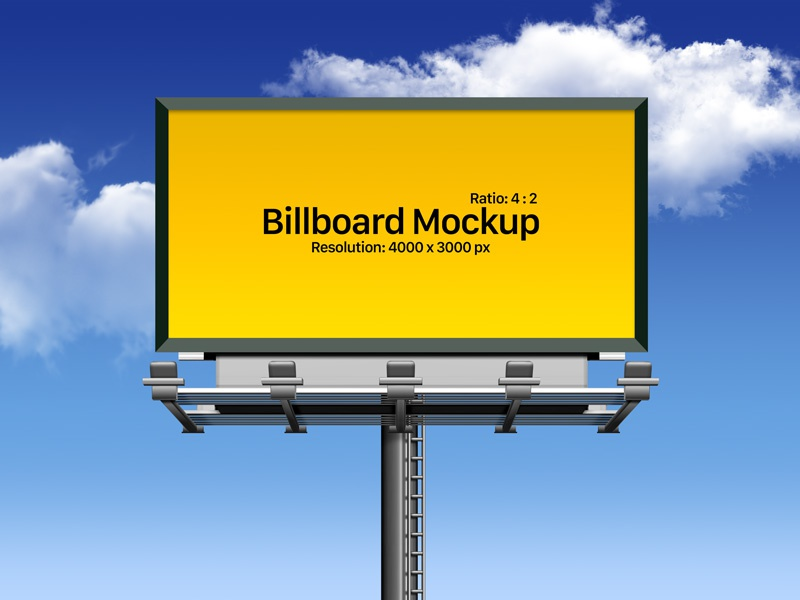 Free Fully Customizable Outdoor Advertising Billboard Mockup PSD free mockup hoarding mockup freebie psd mockup mockup psd outdoor mockup billboard mockup