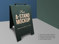 Free Outdoor Advertising A-Stand Mockup PSD