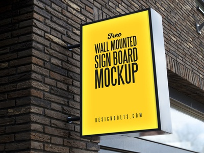 Free Outdoor Advertising Wall Mounted Sign Board Mockup PSD mockup psd free mockup mockup psd wall mounted sign mockup sign board mockup outdoor mockup shop sign mockup sign mockup