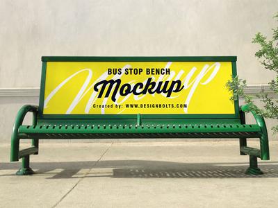 Free Outdoor Advertising Bus Stop Bench Mockup PSD outdoor mockup free mockup mockup psd bus stop bench mockup bus bench mockup bench mockup