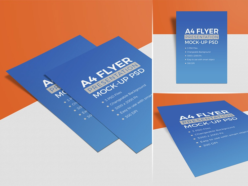 3 High Quality Free A4 Flyer Mockup Psd Set By Zee Que