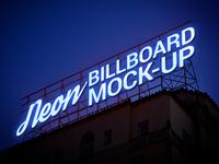 Free Electric Neon Sign Billboard Mockup Psd