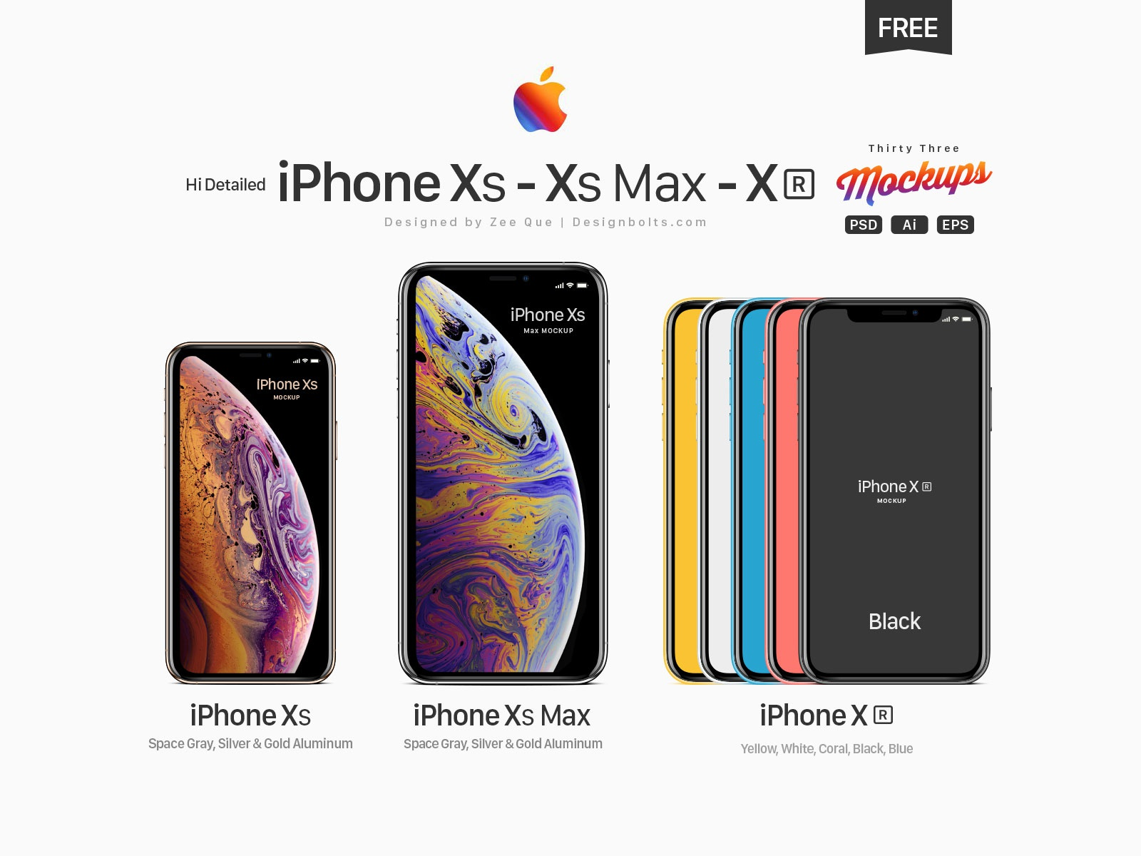 Free Apple Iphone Xs Xs Max Xr Mockup Psd Ai Eps By Zee Que