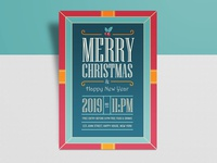 Free Vintage Christmas & New Year 2019 Flyer Design Template