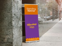 Free Outdoor Advertising Standing Banner on Road Mockup PSD