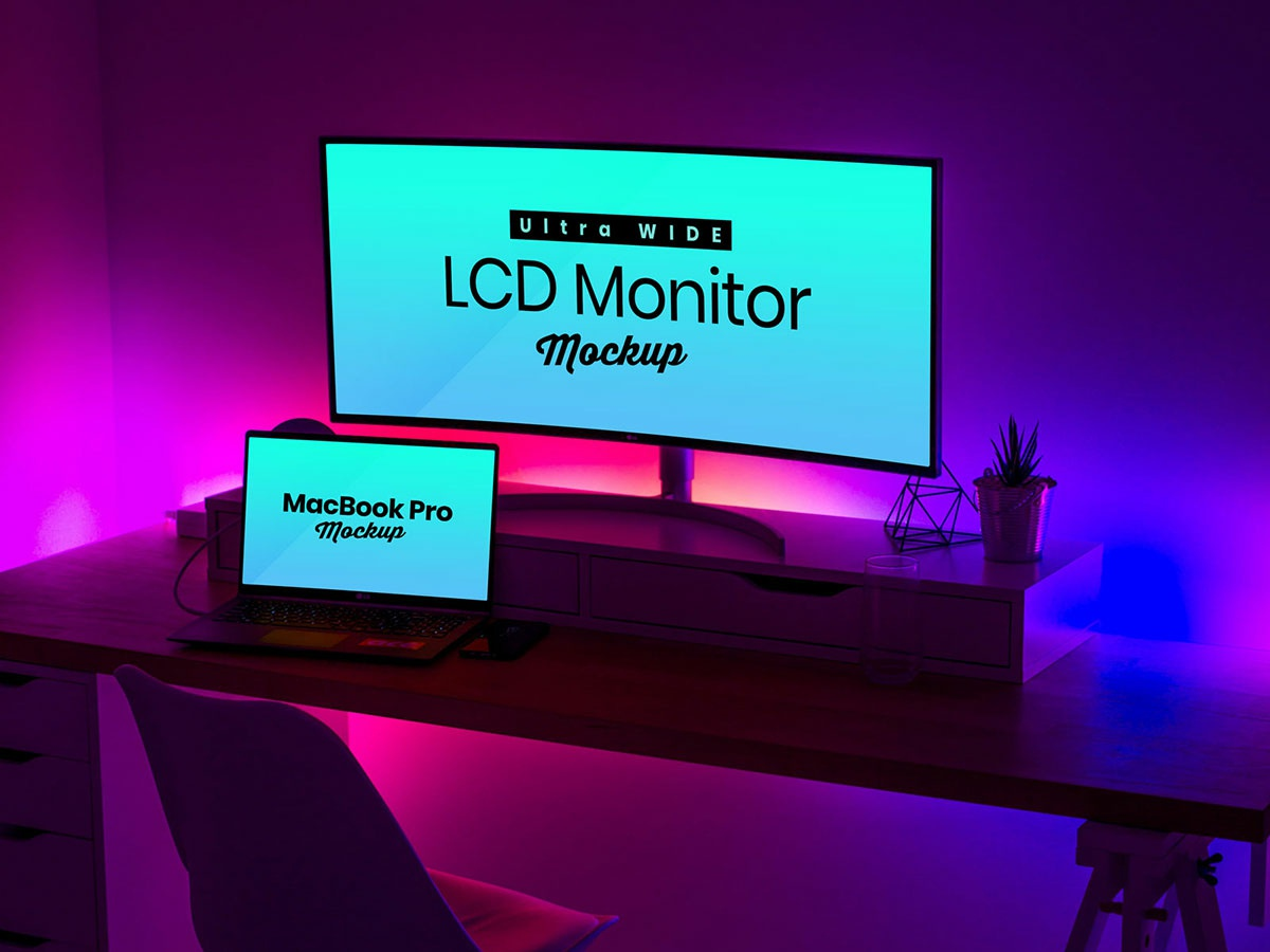 Free Ultra Wide Screen LCD Monitor & MacBook Pro Mockup PSD website mockup responsive web design mockup macbook mockup freebie widescreen monitor mockup widescreen lcd mockup macbook pro mockup lcd mockup monitor mockup