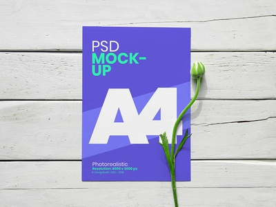 Free A4 Flyer With Flower Mockup PSD mockup a4 paper mockup leaflet mockup psd mockup flyer mockup a4 mockup free mockup mockup psd