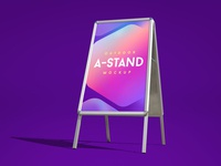 Free Outdoor Foldable A-Stand Mockup PSD