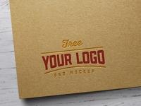 Free Kraft Paper Letterpress Logo Mockup PSD