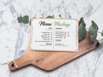 Free Landscape Restaurant Menu Card Mockup PSD