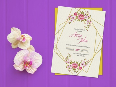 Free Wedding Invitation Card Template & Mockup PSD