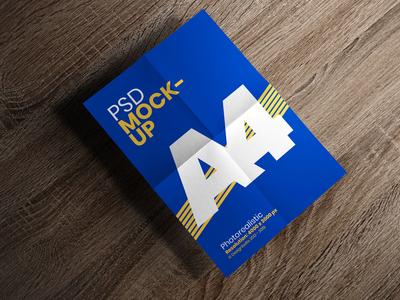 Free Folded Paper A4 Size Flyer / Poster Mockup PSD