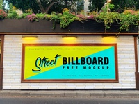 Free Street Wall Mounted Billboard Mockup PSD