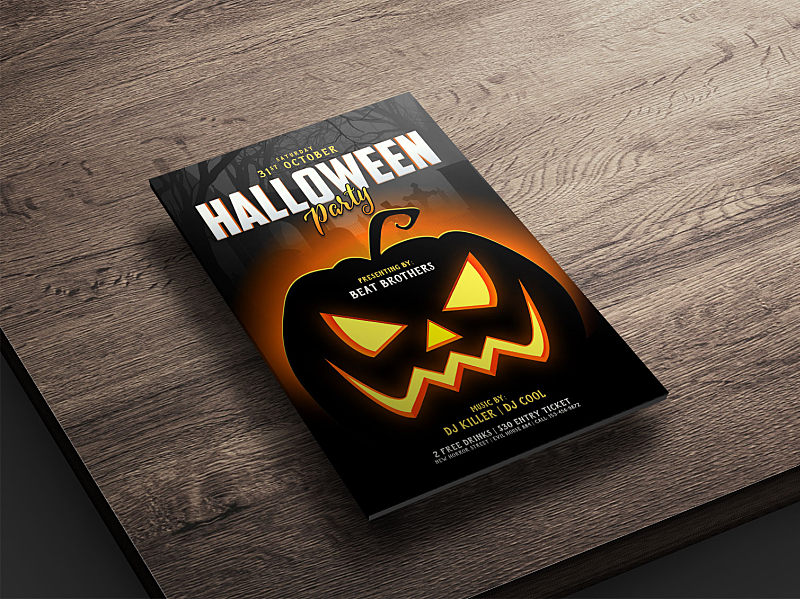 Free Halloween Party Flyer Poster Design Template Psd 2019