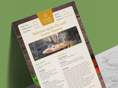 Free A4 Size Food Recipe Design Template in PSD