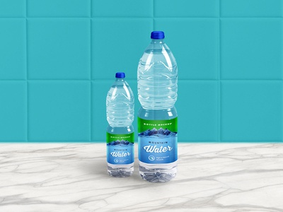 Free 1 Liter Mineral Drinking Water Bottle Mockup PSD