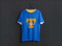 Free Hanging Half Sleeves T-Shirt Mockup PSD