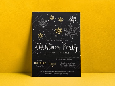 Free Christmas Party Flyer Design Vector Template 2019 in Ai freebie template design flyer design template free flyer design free flyer flyer design flyer christmas flyer christmas party flyer