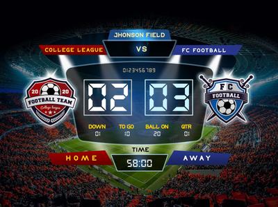Free Football Scoreboard Design Template Mockup PSD