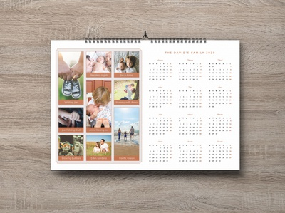 Free  Family Wall Calendar 2020 Photography Template Design PSD