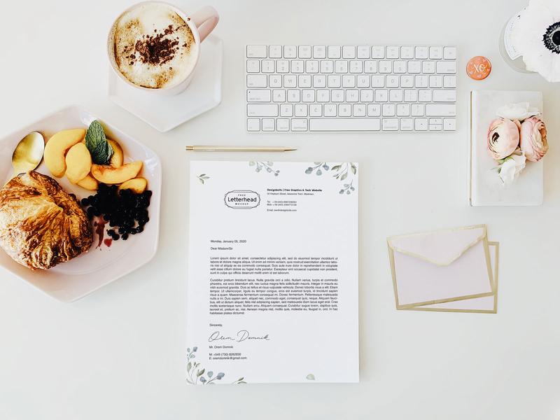 Free US Letter Size Letterhead Design & Mockup PSD