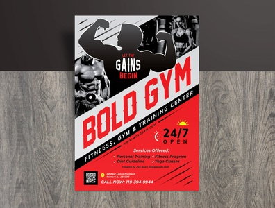Free Gym Body Training / Fitness Flyer Design Template Ai