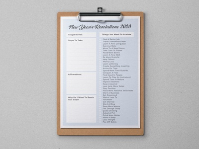 2020 New Year Resolutions Printable List Free Ai Template