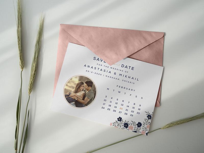 Free Save the Date Postcard Design Template/ Envelope Mockup PSD