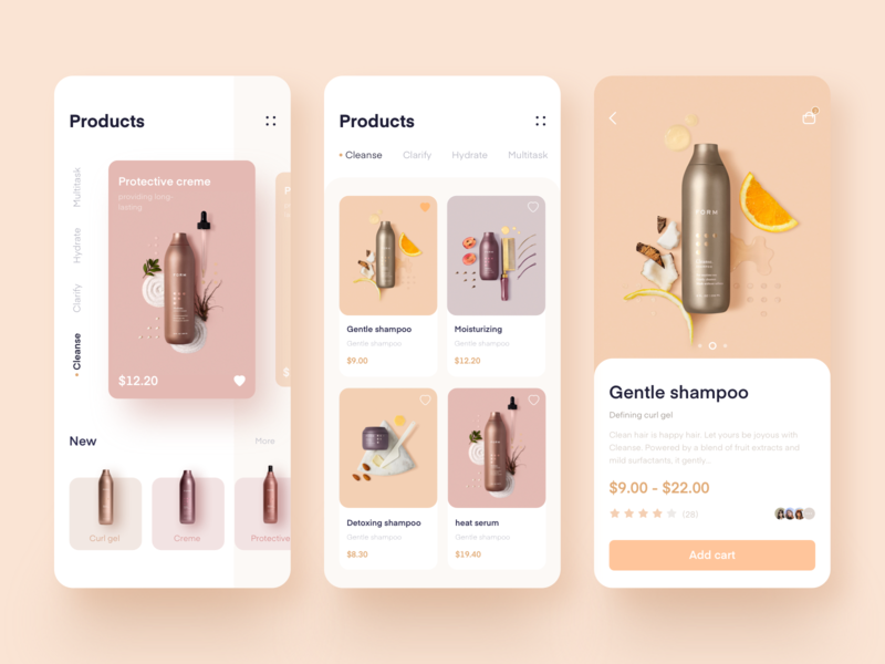 Cosmetics e-commerce application design 应用 设计 ux ui