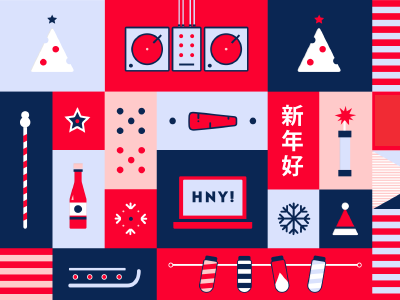 Wrapping paper 2013 new year icons paper illustration pattern
