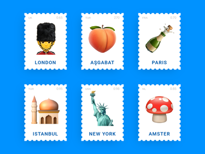 Emoji Stamps paris new york ny istanbul london postcard icon post digital stamp emoji