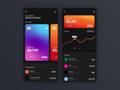 Banking Mobile App design app bank app minimal dark theme ui finance banking bank mobile ui black interface mobileappdesign cards gradient mobileapp mobile ui uxui ux