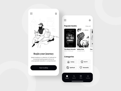 Book App Concept app mobile illustration education reading app black white clean design ux ui ebooks book art bookshop book books ebook listen read reading
