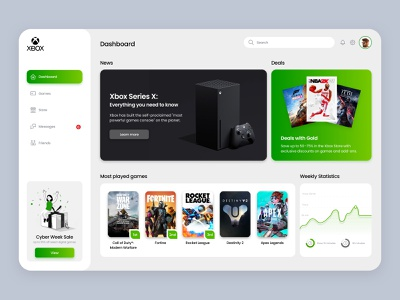 Xbox Dashboard appdesign interface platform dashboard uidesign ui ux clean white gaming game console app user interface analytics xbox xboxone userinterface uiux webdesign