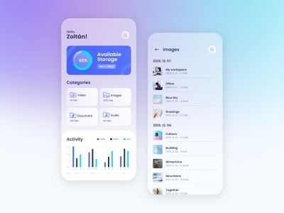 File Manager App mobile app mobile chart analysis analytics design minimal layout folders folder glass clean uiux ux ui sharing manager file manager files file