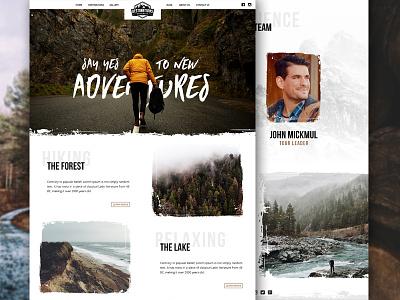 Forest Webdesign website ui travel retro outdoors nature layout interaface icons homepage badge adventure