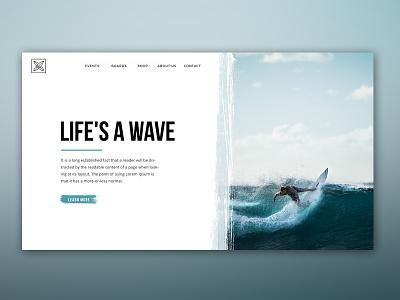 Life's a Wave website webdesign ui sea layout interaface surf wave homepage home
